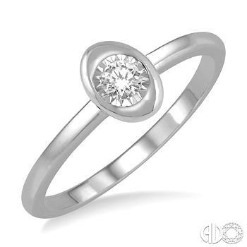 10 Karat White Gold  Fashion Ring With One 0.03Ct Round Diamond