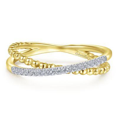 Garbiel & Co 14 Karat Yellow And White Gold Criss Cross Diamond Band 0.10 Ct