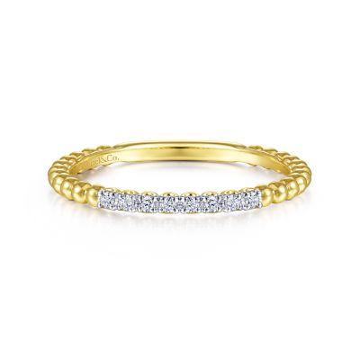 Gabriel & Co: 14 Karat Yellow/White Gold  Bujukan Stackable Fashion Ring With 8=0.06Tw Round Diamonds Ring Size: 6.5