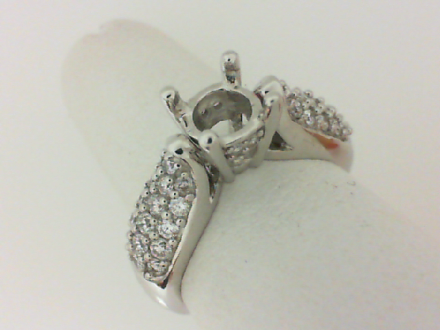 14K White Gold 1/2 Ctw Diamond Semi Mount Ring