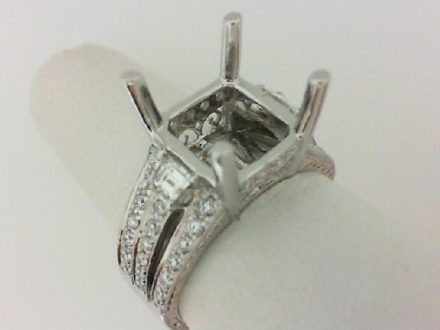 Natalie K: 14 Karat White Gold Bridal Semi-Mount Ring With TwoTrapeziod and Round Diamonds .83Ctw   Center Size: 11x9mm