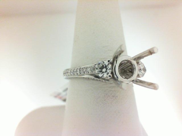 Natalie K: 18K White Gold 3 Stone Semi-Mount Ring With Diamonds Sides  .71Ctw Diamond  For 2Ct Round