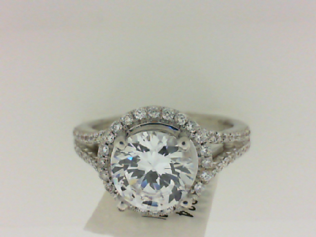 Natalie K: 18K White Gold .49Ctw Round Diamonds Semi Mount Ring Serial #: 354865