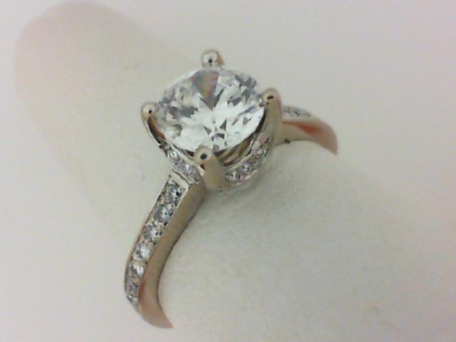 Verragio: 18 Karat White Gold Impressa Semi-Mount Ring With 0.20Ctw Diamonds