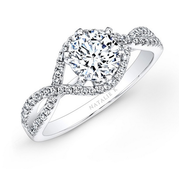Natalie K: 14K White Gold .31Ctw Round Diamonds Semi Mount Ring  Serial #: 531844
