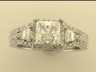 Natalie K: 18K White Gold .69Ctw Round Diamonds And .42Ctw Baguette Diamonds Semi Mount Ring  Serial #: 351811