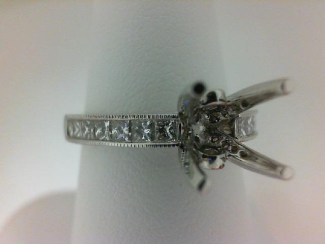 Natalie K: 14K White Gold .63Ctw Princess Diamonds And .09Ctw Round Diamonds Milgrain Semi-Mount Ring