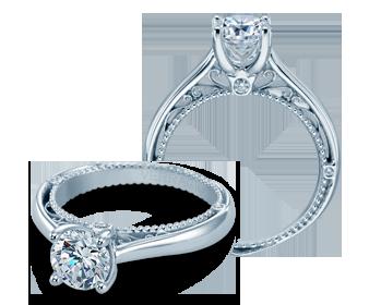 Verragio: 18 Karat White Gold Venetian Semi-Mount Ring With Round Diamonds  .06Ctw For 6mm Center