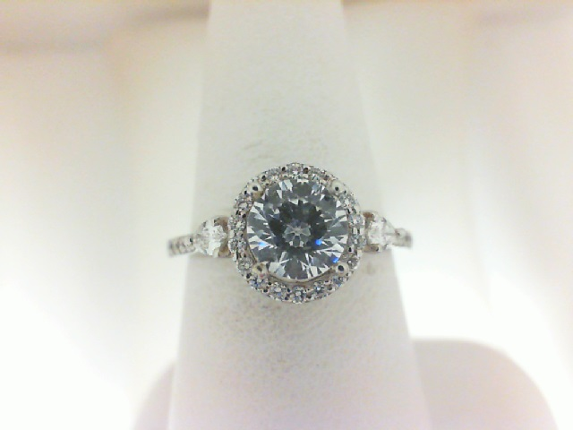 Natalie K: 18 Karat White Gold Halo Semi-Mount Ring With 52=0.29Tw Round Diamonds And 2=0.14Tw Pear Diamonds Serial #: 524806 Ring Size 6.5  Center Size: 5.75 mm