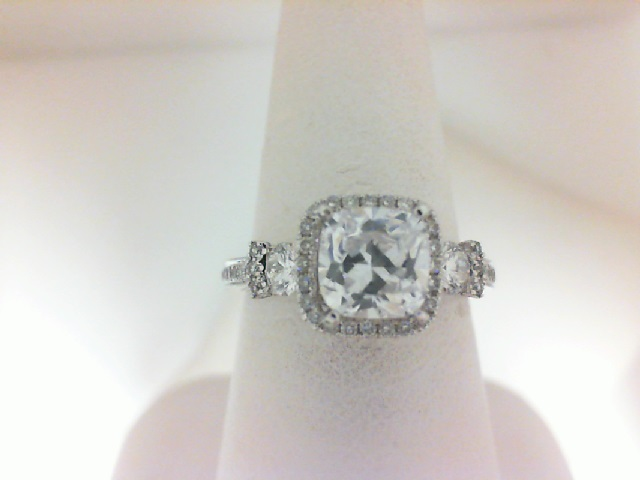 Natalie K: 14 Karat White Gold  3 Stone Halo Semi-Mount Ring  With 86=0.63Tw Round Diamonds Serial #: 498235 Ring Size 6.5 For  .75ct Center