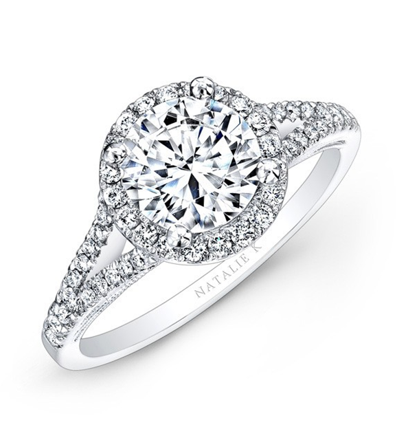Natalie K:  14 Karat White Gold Semi-Mount Ring With .31Tw Round Diamonds Serial #: 580429