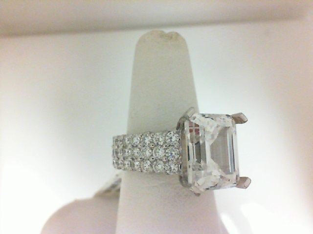 Natalie K: 18 Karat White Gold 3 Row Prong Set Semi-Mount Ring  With 82=3.30Tw Round Diamonds Center Size: 12x10mm  Serial #: 536589