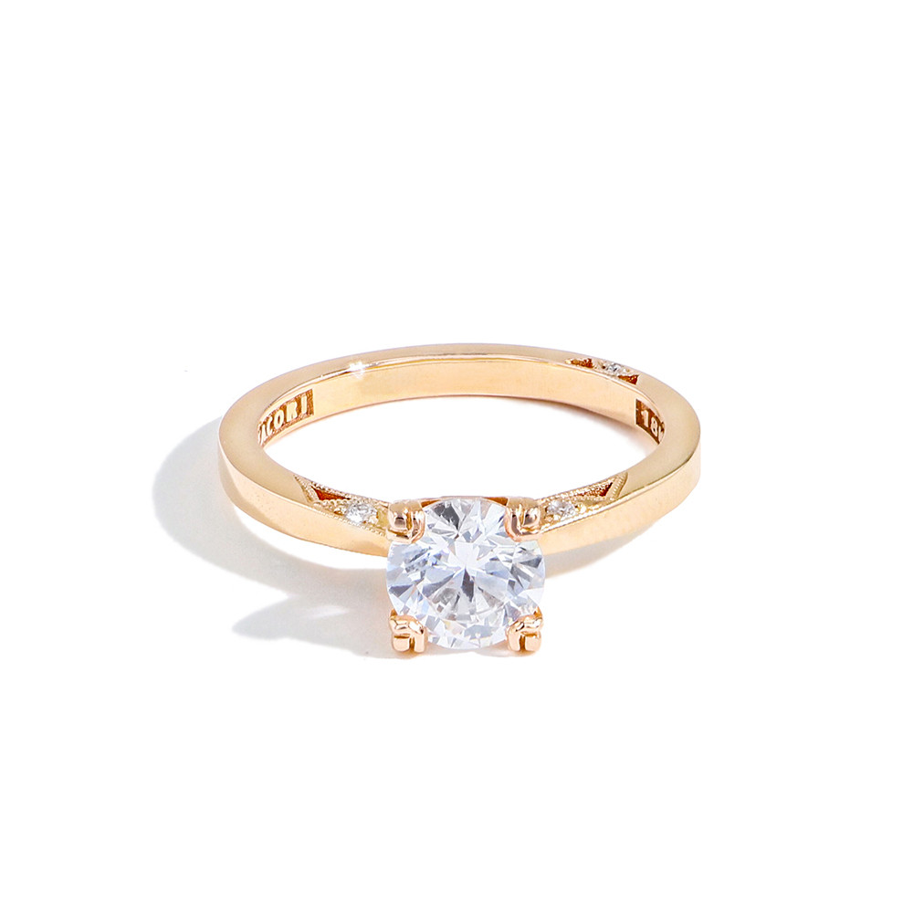 Tacori: 18 Karat Rose Gold Simply Tacori Semi-Moumt Ring With 6=0.05Tw Round Diamonds For 6.45mm Center