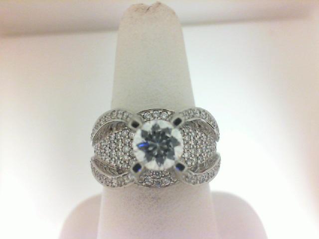 Natlie K: 18 Karat White Gold Semi-Mount Ring With 225=1.55Tw Round Diamonds Center Size: 6.5mm
