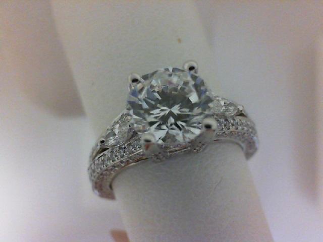 Natalie K: 14 Karat White Gold Semi-Mount Ring With .82Tw Round Diamonds