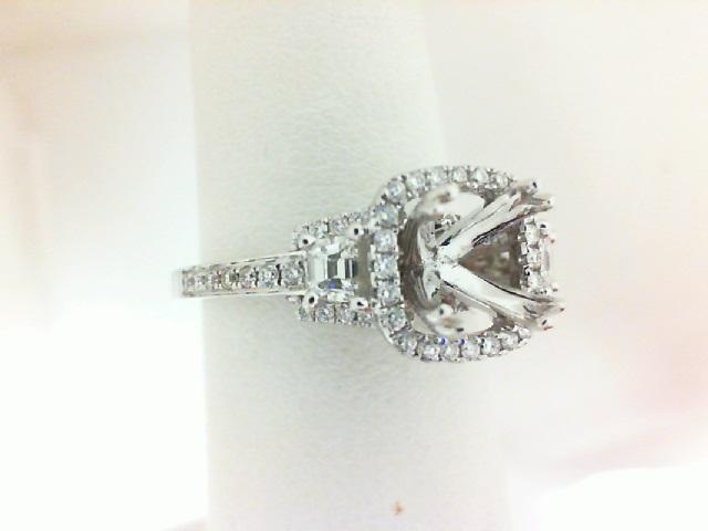 Natalie K: 18 Karat White  Gold Semi-Mount Ring With .41Tw Round Diamonds And .21Tw Trapezoid Diamonds