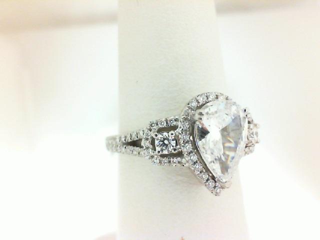 Natalie K: White 18 Karat Semi Mount Ring With .34Tw Round Diamonds