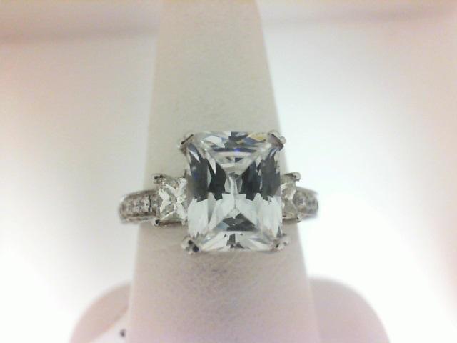 Natalie K: 14 Karat White Gold Milgrain Semi-Mount Ring With 76=0.49Tw Round Diamonds And 2=0.71Tw Princess Diamonds Center Size: 9x7mm