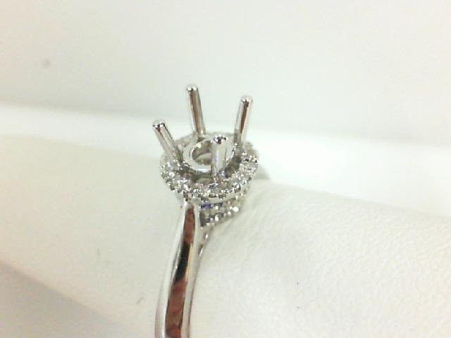14 Karat White Gold Halo Knife Edge Semi-Mount Ring With .17Tw Round Diamonds