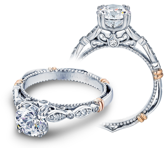 Verragio: 14 Karat White/Rose Gold Parisian Semi-Mount Ring With .15Tw Round Diamonds