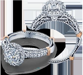Verragio: 14 Karat White/Rose  Gold Parisian Semi-Mount Ring With .30Tw Round Diamonds
