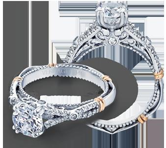 Verragio: 14 Karat Two-Tone Gold Parisian Semi-Mount Ring With .20Tw Round Diamonds For 6.5mm Center