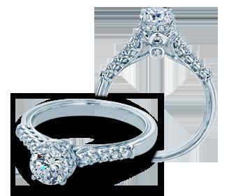 Verragio: 14 Karat White Gold Semi-Mount Renaissance Ring With 0.40Tw Round Diamonds