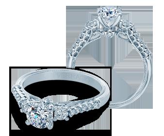 Verragio: 14 Karat White Gold Renaissance Semi-Mount Ring With 0.41Tw Round Diamonds