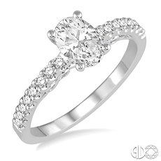 14 Karat White Gold Semi-Mount Ring With  Round Diamonds At .25Tw