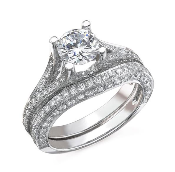 Natalie K: 14 Karat  White Gold Semi-Mount Set 1.23Cttw Diamonds