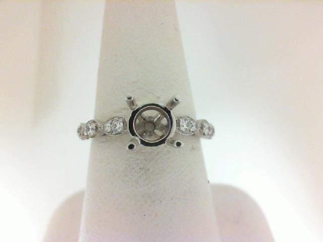 14 Karat White  Gold Semi-Mount Ring  With 12=0.23Tw Round Diamonds
