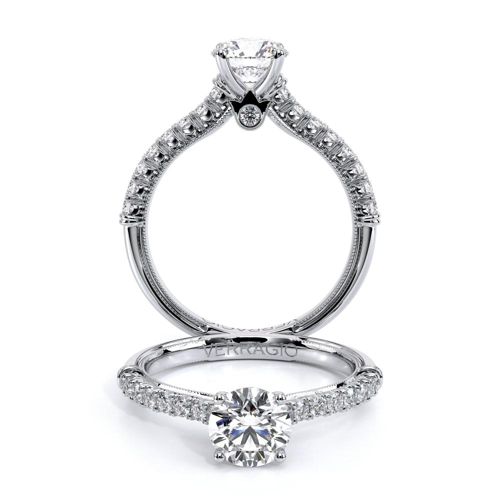 Verragio: 14 Karat White Gold Renaissance Semi-Mount Ring With .34Tw Round Diamonds 5.8mm Center