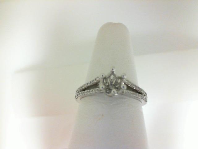 14 Karat White Gold Split Shank Semi-Mount Ring With 0.19Tw Round Diamonds