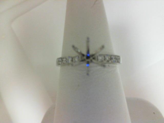 14 Karat White Gold Milgrain Sem-Mount Ring With .16Tw Round Diamonds