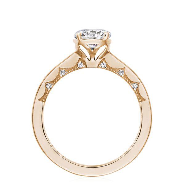 Tacori: 14 Karat Rose Coastal Crescent Semi-Mount Ring With .06Tw Round Diamonds For 6.5mm Center