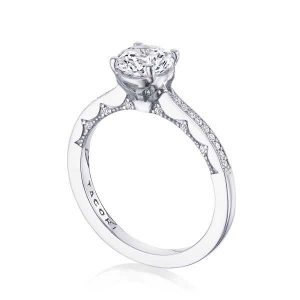 Tacori: 14 Karat White Coastal Crescent Semi-Mount Ring With .14Tw Round Diamonds For 6.5mm Center