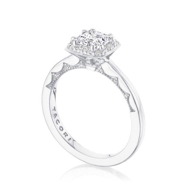 Tacori: 14 Karat White Gold  Coastal Crescent Semi-Mount Ring With .15Tw Round Diamonds For 6.5mm Center