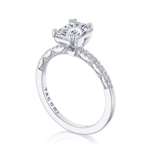 Tacori: 14 Karat White Gold Coastal Crescent Semi-Mount Ring With .16Tw Round Diamonds