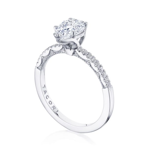 Tacori: 14 Karat White Gold Coastal Crescent Semi-Mount Ring With .16Tw Round Diamonds For 9x6mm Center