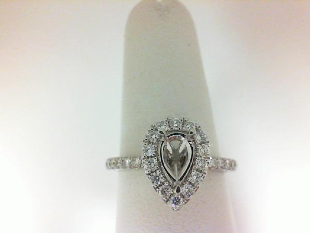 Natalie K: 14 Karat White Gold Pear Halo Semi-Mount Ring With 34=0.50Tw Round Diamonds Size 6.5