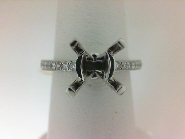 Natalie K: 14 Karat White Gold Semi-Mount Ring With 30=0.22Tw Round Diamonds