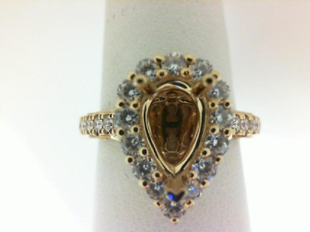 18 Karat Yellow Gold Halo Semi-Mount Ring With 32=0.65Tw Round Diamonds