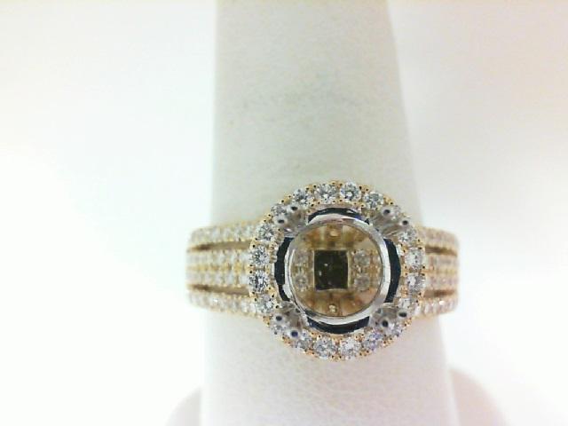 Natalie K: 14 Karat White/ Yellow Gold Halo Split Shank Semi-Mount Ring  With 128=0.75Tw Round Diamonds Ring Size 6.5