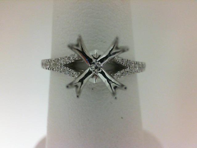 18 Karat White Gold Split Shank Semi-Mount Ring  With 76=0.30Tw Round Diamonds
