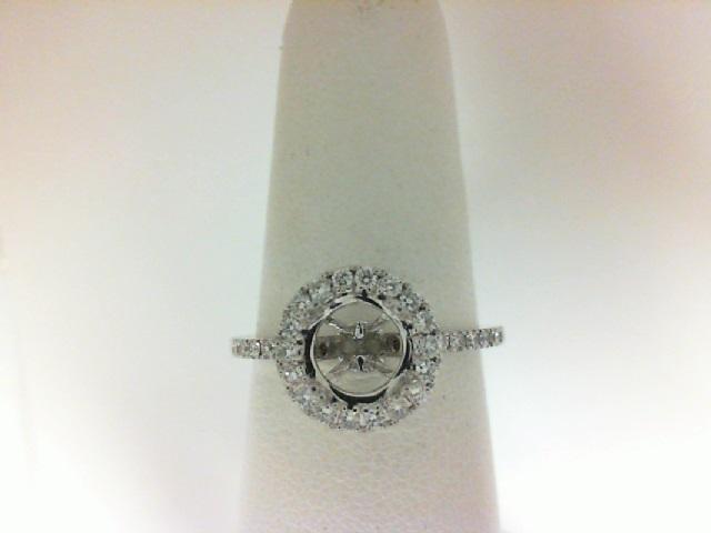 18 Karat White Gold Halo Semi-Mount Ring With 40=0.35Tw Round Diamonds