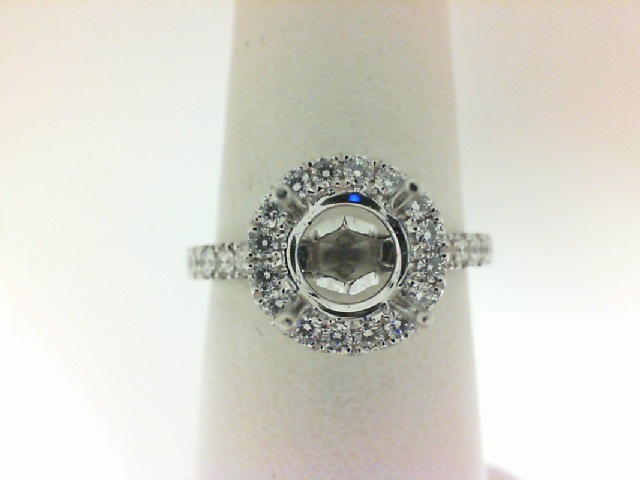 Foevermark: 18 Karat White Gold Halo Semi-Mount Ring With 31=0.41Tw Forevermark Round Petite Diamonds