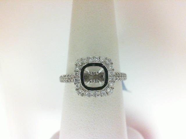 Natalie K: 18 Karat White Gold Cushion Halo Semi-Mount  With 70=0.46 Tw Round Diamonds Center Size: 7.25mm