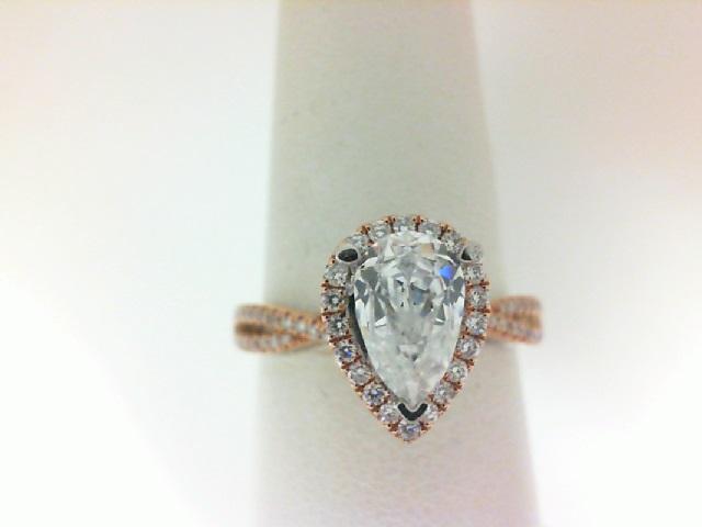 18 Karat White/Rose Gold Halo Semi-Mount Ring  With 78=0.29Tw Round Diamonds
