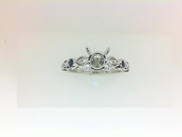 White 14 Karat Milgrain Semi Mount Ring With .14Tw Round Diamonds And .20Tw Round Sapphires