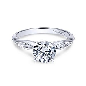 Gabriel&Co: 14 Karat White Gold  Semi-Mount Ring With 6=0.09Tw Round G/H Si1-2 Diamonds Ring  Size 6.5